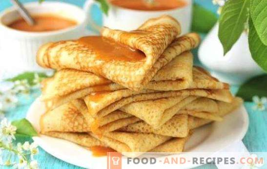 Pancakes on boiled water with milk are openwork and thin. The best recipes for pancakes with boiled water with milk: cottage cheese, meat, cream