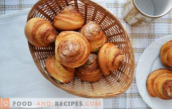 Snail buns - intricate pastries for tea. Recipes of fragrant, tasty snails with sugar, poppy seeds, coconut