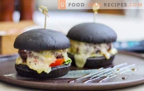 Black buns - the real trend of this season! Recipes of black buns for burgers on milk, water, yogurt with yeast and rippers