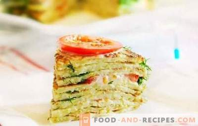 Zucchini cake: quick and tasty. Quick recipes of delicious zucchini cakes with vegetables, cheese, mushrooms, meat