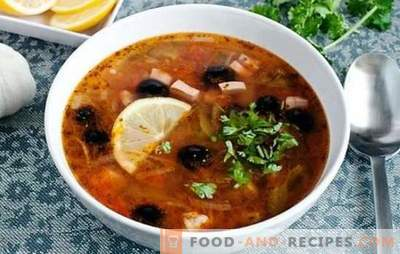 Solyanka classic with sausage - this is a soup! Recipes for spicy, rich, aromatic classic salt vinegar with sausage