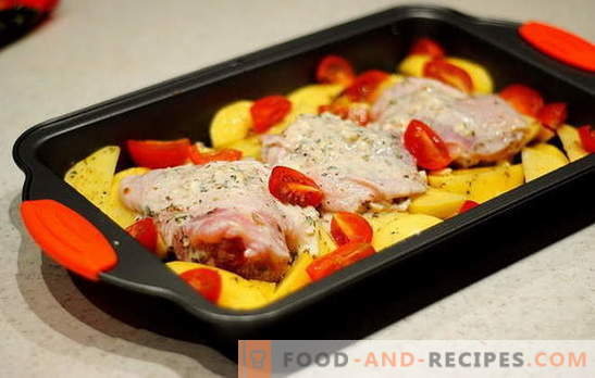 Chicken thighs with potatoes in the oven - the best recipes. Chicken thigh recipes with potatoes in the oven: in foil, sleeve