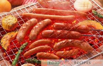Grilled sausages - delicious snack! Grilling sausages in the oven, on the grill: with cheese, bacon, ham, pears and mushrooms