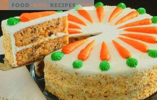 Classic carrot cake - juicy autumn dessert. Classic carrot cake with spices, cream cheese, nuts, chocolate
