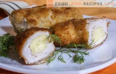 Recipes of moderate calorie chicken breast with cheese in the oven. Bake juicy chicken breasts with cheese in the oven