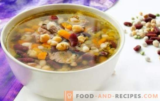 The most delicious bean soups - in vegetable and meat broth. Table decoration and favorite kids food - bean soup