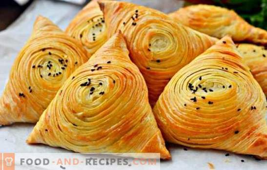 Puffed samsa - nourishing, juicy and incredibly tasty! Cooking a real homemade puff pastry samsa in the oven