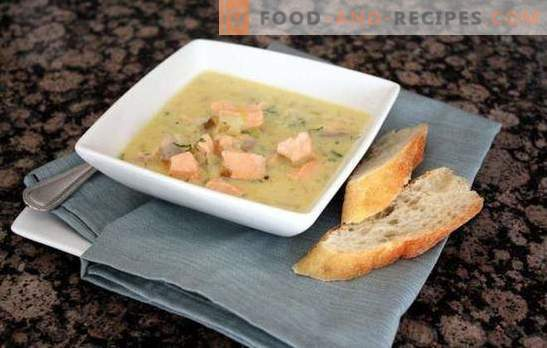 Pink salmon soup - royal first course: with smoke or vodka? Recipes of fish salmon soup with vegetables, cereals, mushrooms, eggs