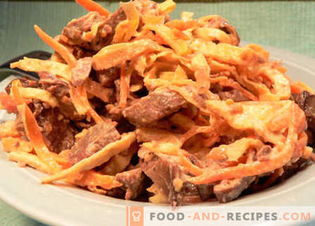 Salad with liver and carrots - the best recipes. How to properly and tasty to prepare a salad with liver and carrots.