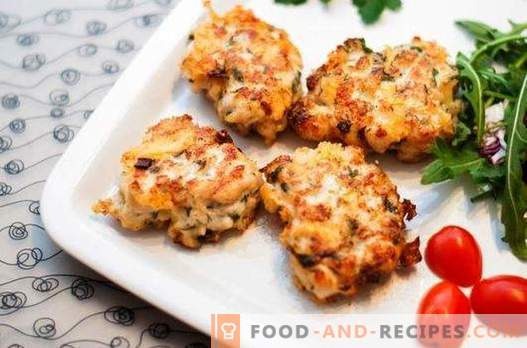 Chopped chicken patties with cheese - the perfect solution. A selection of recipes chopped meatballs with cheese and herbs, vegetables, cereal