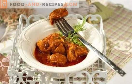 Pork in tomato sauce - delicious meat! Recipes pork in tomato sauce in a pan, in the oven, with mushrooms, beans