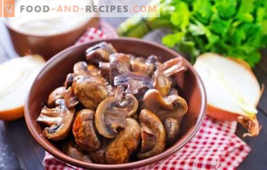 Champignons with onions - the world of mushroom fantasies! Baked and roasted champignons with onions in a griddle, in the oven