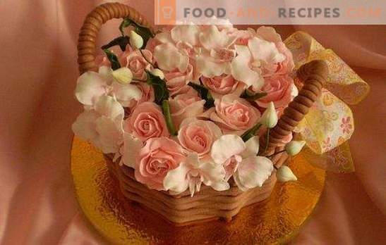 Two gifts in one, if it is a basket of flowers. Technology decorating the cake