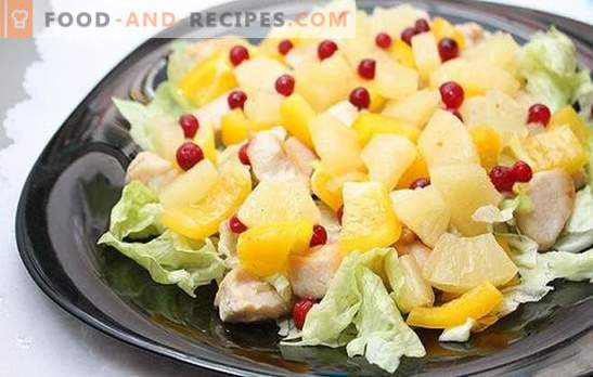 Salad with pineapple and ham: for a holiday with a hint of exotic. Recipes harmonious combinations in a salad with pineapple and ham