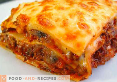 Lavash Lasagna - the right recipes. How to quickly and tasty cook lasagna from pita.
