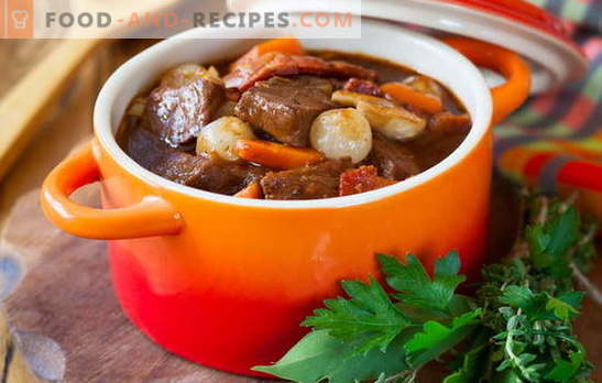 Pork stew - we cook with pleasure! Different recipes of pork stew with vegetables, buckwheat, rice, green beans