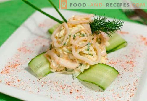 Squid salad with egg - proven cooking recipes. How to cook a salad of squid with an egg.