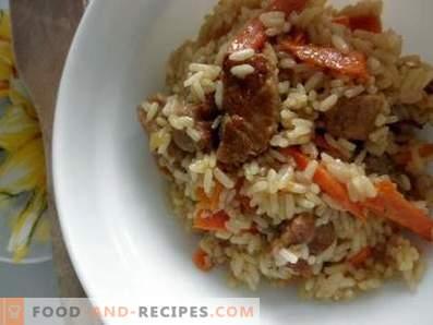 Pork pilaf in a slow cooker