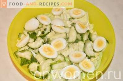 Salad with cod liver and quail eggs