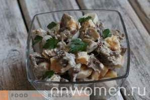 Salad with meat and pickled mushrooms