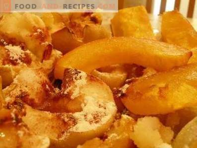Pumpkin with apples baked in the oven