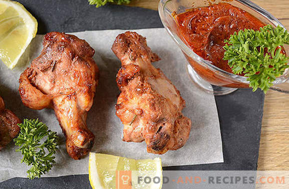 Wings in soy-tomato marinade for a juicy and fragrant kebab on the grill and in the oven
