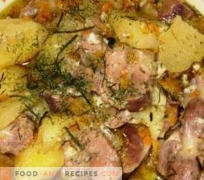Chicken stomachs stewed with potatoes