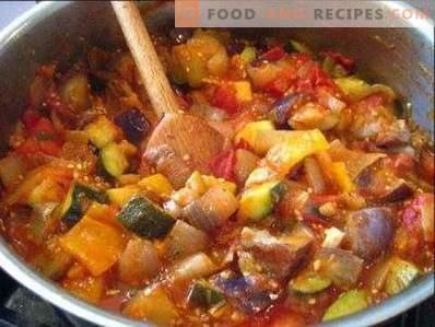 Eggplant stewed with vegetables