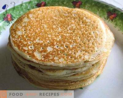 Thick pancakes with yeast