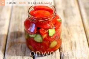 Tomato and cucumber salad for the winter