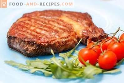 Pork steak in a pan