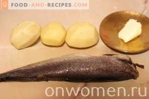 Hake baked in the oven with potatoes