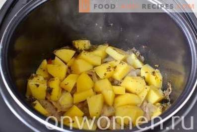 Beef stewed with potatoes in a slow cooker