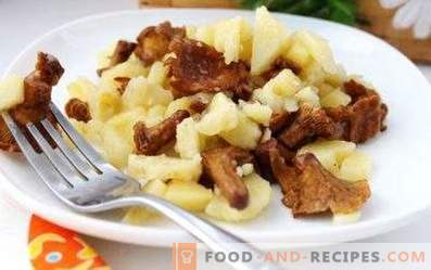 Potatoes fried with chanterelles in a slow cooker