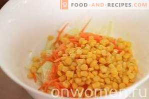 Salad with apples, carrots, cabbage and corn