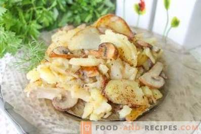 How to fry potatoes with mushrooms in a frying pan