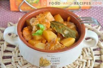 Potato stewed with pork in a slow cooker