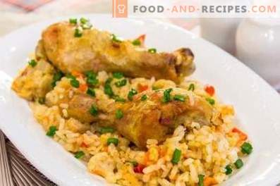 Chicken drumsticks with rice in a slow cooker