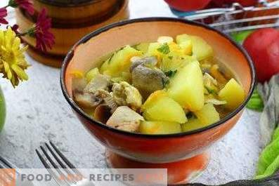Potato stewed with mushrooms and chicken