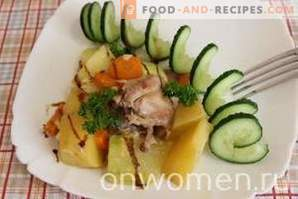 Chicken with potatoes and zucchini in a slow cooker