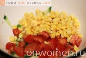Salad with crab sticks, tomatoes and corn