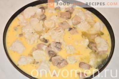 Omelet with cauliflower and mushrooms in the oven