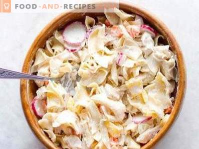Salads with boiled chicken