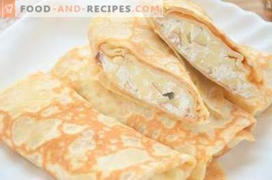 Pancakes with cottage cheese and apples
