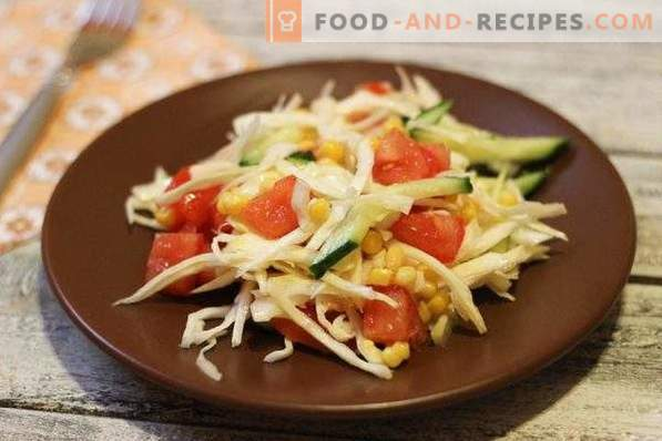 Salad with cabbage, corn and cucumber