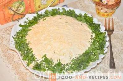 Layered salad with sprats and cheese