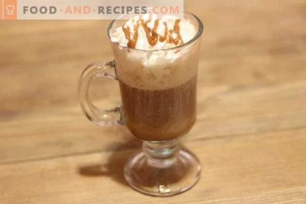 Coffee with cream and caramel