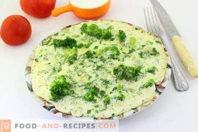 Omelet with broccoli in a pan