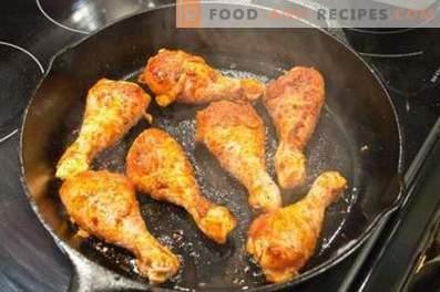 Chicken drumsticks in a pan