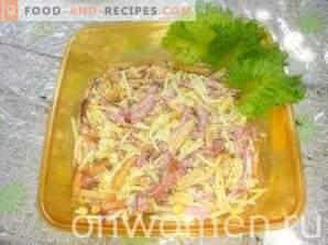 Salad with kirieshkami, smoked sausage and corn